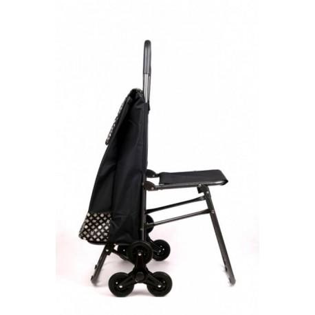 Wózek na zakupy na trzech kółkach z siedziskiem