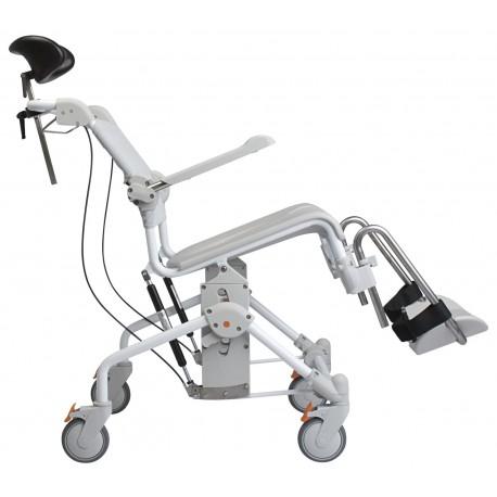 Etac Swift Mobile Tilt wózek toaletowo-prysznicowy z manualną regulacją kąta nachylenia do 135 kg.