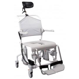 Etac Swift Mobile Tilt wózek toaletowo-prysznicowy z elektryczną regulacją kąta nachylenia do 135 kg.