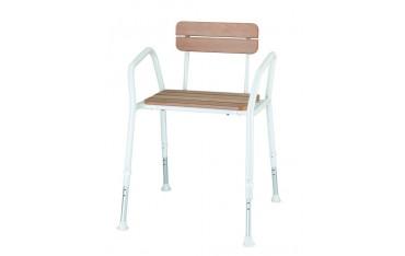 Drewniane krzesło prysznicowe z oparciem i uchwytami