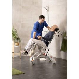 Etac Swift Mobile Tilt 2 wózek toaletowo-prysznicowy z manualną regulacją kąta nachylenia do 160 kg z regulacją wysokości siedziska