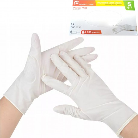 Rękawiczki jednorazowe lateksowe rozmiar S 100 sztuk