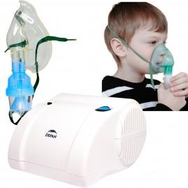 Cichy medyczny inhalator tłokowy z dwiema maskami w zestawie DEPAN