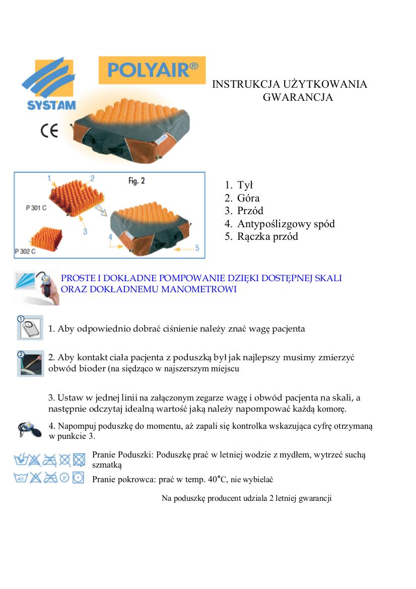 Instrukcja obsługi poduszki polyair